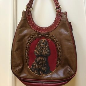 Isabella Fiore Leather Shoulder Hobo Bag